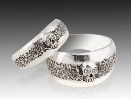 wedding rings sets skull wedding ring set sterling silver skull wedding ring set