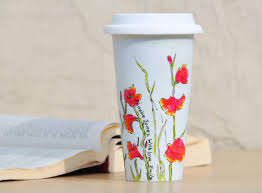 Personalized ceramic travel mug made to order flower eco cup