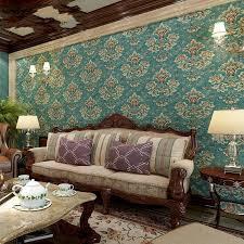 wallpaper biru hijau beibehang eropa pastoral retro non woven wallpaper damaskus membuka