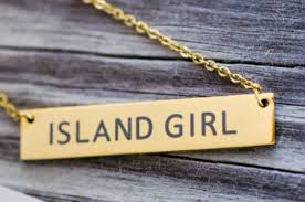 necklace girl images Adult island girl necklace gold wide bar caribbean local fashion png