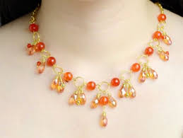 orange beads necklace images Orange bead cluster necklace with golden chain craftstylish jpg