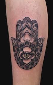 black ink hamsa hand tattoo design for sleeve