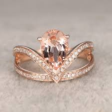 ring for women 7x10mm 2ct pear shaped morganite engagement ring
