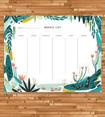 Weekly Desk Pad Jungle Print Weekly List Notepad Art Cards U0026 Stationery