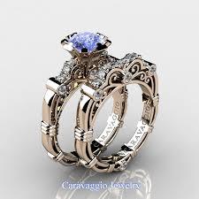 light blue sapphire ring light blue gemstone engagement rings caravaggio 14k rose gold 125 ct