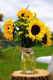 sunflower centerpieces decor jar and sunflower arrangements with patio furniture