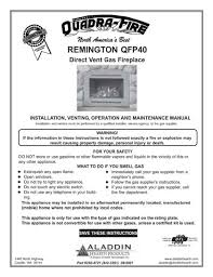 Lennox Gas Fireplace Manual by Quadrafire Gas Stove Manuals