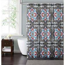 Teal And Red Curtains Cotton Shower Curtains Shower Accessories The Home Depot