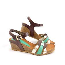 yokono cadiz 045 wedge sandals in gold turquoise brown rubyshoesday