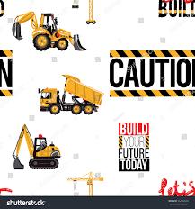 seamless pattern tractor backhoe loader dumper stock vector