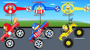 monsters trucks videos minions helicopter saves superheroes monster trucks kids cartoon