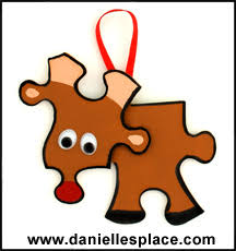 Kids Reindeer Crafts - reindeer puzzle piece christmas ornament from www daniellesplace