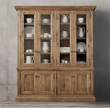 restoration hardware china cabinet wood glass 4 door sideboard hutch