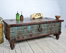 Chest Coffee Table Reclaimed Trunk Coffee Table Antique Indian Blue Turquoise