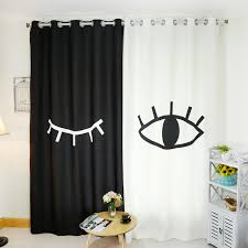 Black And White Blackout Curtains Senisaihon Korean 3d Blackout Curtains Black White