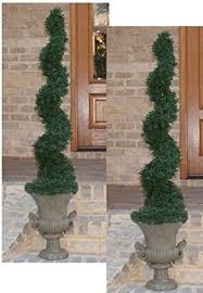 two 4 outdoor artificial boxwood topiary trees