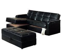 black vinyl chaise storage sofa bed with ottoman by coaster u2014 qvc com