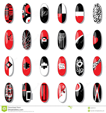 original nail design using red black white stock vector image