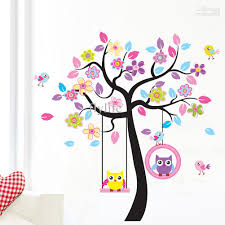 large tree and flowers wall stickers cute owls wall decor decals