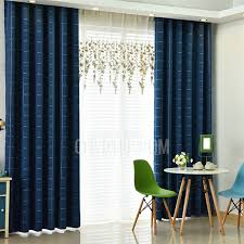 Navy Blue Plaid Curtains Navy Plaid Linen Cotton Blend Modern Bedroom Curtains