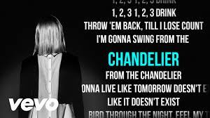 Sia Chandelier Lyric Sia Chandelier Karaoke Lyrics Backing Vocals Vevo Youtube