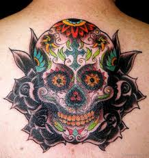 80 looking skull tattoos on back