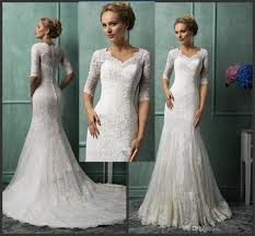 china 2016 long sleeve wedding dresses with v neck 1 2 sleeve