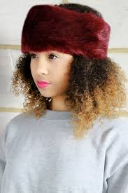 burgundy headband faux fox fur russian cossack winter burgundy headband hat fitted