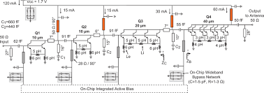 circuit schematic of the four stage w band power amplifier