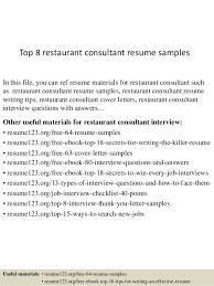 Resume Examples For Restaurant by Top 8 Restaurant Consultant Resume Samples 1 638 Jpg Cb U003d1431513126