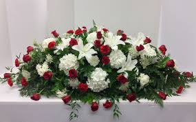 casket spray stunning and white garden casket spray