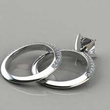 bridal set rings knife edge engagement ring wedding band bridal set puregemsjewels