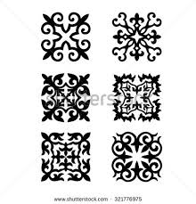 set kazakh national ornaments patterns stock vector 315450119