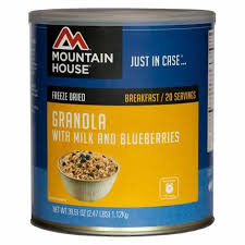 mountain house granola with milk and blueberries in 10 can