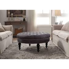 furniture navy blue round tufted ottoman for home furniture ideas