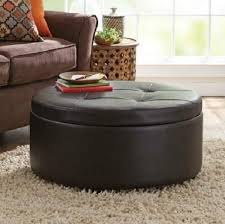 Leather Top Coffee Table Round Leather Top Coffee Table Round Storage Ottoman Brown Faux
