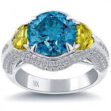 blue diamond wedding rings 5 82 carat fancy yellow blue diamond engagement ring 14k white