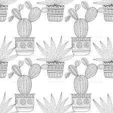 black and white seamless pattern of ornamental cacti and