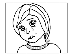 coloring page sad child manga digital download