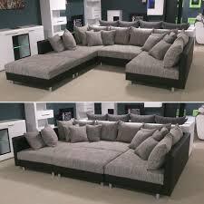 sofa schwarz details zu wohnlandschaft claudia xxl ecksofa couch sofa mit