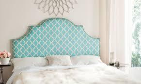 hallmar blue u0026 white arched headboard silver nail head