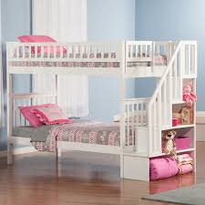 Plans For Building A Loft Bed With Stairs by Woodland Twin Over Twin Staircase Bunk Bed Hayneedle