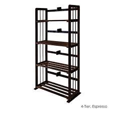 furinno natural solid pinewood bookshelf 4 tier espresso brown