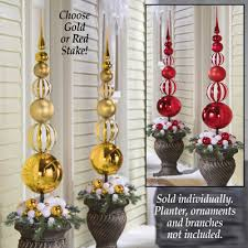 White Christmas Decorations Balls by Stacked Christmas Ornament Ball Topiary Stake From Collections Etc