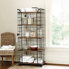 Metal And Wood Bakers Rack French Black Kitchen Bakers Rack With Hutch