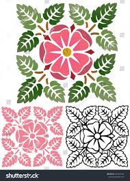 Tudor Design Tudor Style Rose Floral Ornament Old Stock Vector 399497194
