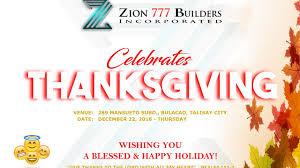 zion 777 builders inc thanksgiving 2016