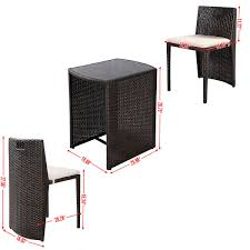 Brown Wicker Patio Furniture 3 Pcs Wicker Patio Cushioned Outdoor Seat Outdoor Furniture Sets