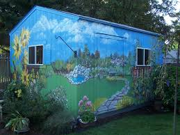 cool shed outdoor murals dress up sheds garages and blank walls plus seven