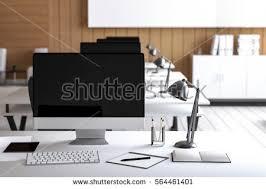 Pc On Desk Or Floor 3d Rendering Illustration Modern Interior Creative Stock